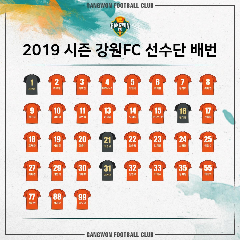 강원FC, 2019시즌 등번호 발표 '제리치 55번-빌비야 10번'